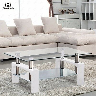 Modern Rectangular Glass Coffee Table with Shelf White Leg Living Room Furniture