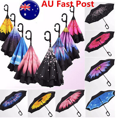 AU Automatic Open Double Layer Upside Down Inverted Umbrella Reverse Windproof