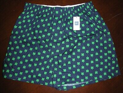 New Gap Boxer Shorts 100% Cotton Shamrock Clover St Patricks Day Mens Sz S 32-34