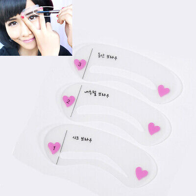 UK 3x Different Style Eyebrow Stencils Shaper Grooming Kit Makeup Template Tool