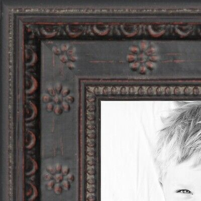 """ArtToFrames Custom Picture Poster Frame Brown Black w Star Compo  .75"""" Wide Wood"""