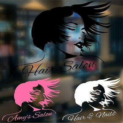 Personalised Hair Beauty Salon Custom Wall Sign Sticker Vinyl Woman Nails Colour