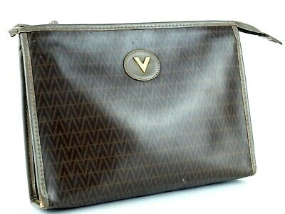 b2f1ce2266 Authentic Mario Valentino Brown PVC Canvas & Leather Second Bag Clutch Bag  Italy