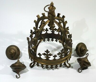 Very Unusual Looking Antique Gothic Style Brass Light Fitting.