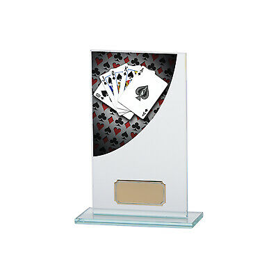 Poker/Cards Premium Glass Plaques Poker Trophies 4 sizes FREE Engraving