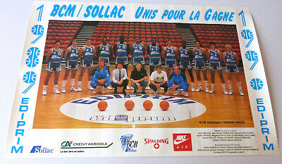 Poster Equipe Basketball Gravelines Nationale 1: 1989/1990 Bcm/solac Dedicacee