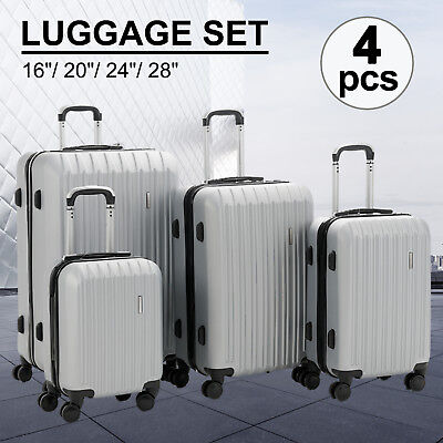 "4PCS Luggage Travel Set ABS Spinner Bag Suitcase w/ Lock Silver 16"" 20"" 24"" 28"""