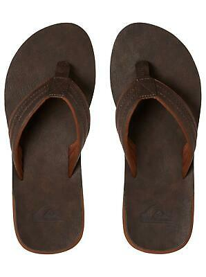 Quiksilver Mens Flip Flops.new Carver Nubuck Faux Leather Thongs Sandal 9S 23Ct