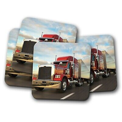 New York Fire Engine Coaster 4 Set Red Truck Emergency Vehicle Gift #14548