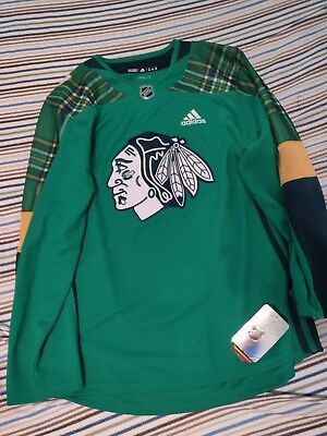1f5d60e7369 ADIDAS LIMITED Chicago Blackhawks NHL St. Patrick s Day Authentic Jersey 52   130