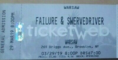 2 x Tickets for Failure & Swervedriver 29-03-2019 8:00 PM Brooklyn, NY