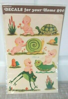 Vintage Meyercord 1701-A Winged Cherub Fun Decal~Turtle, Snail, Fish, Frog