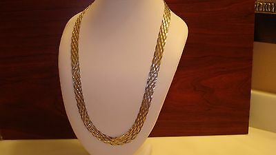 """24"""" Braided Woven 10 Strands Flat 11 Mm Chain Sterling Silver  Necklace 31 Grams"""