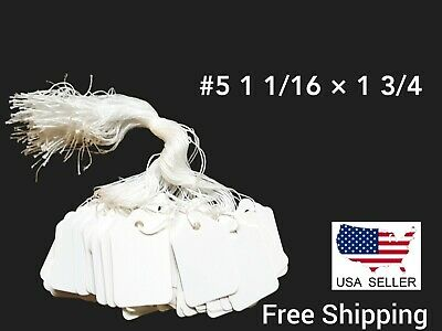 1000 Blank White Merchandise Price Tags with Strings Size #5 1 1/16 × 1 3/4