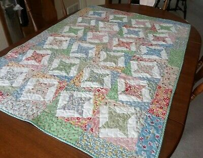 """Country/Farmhouse/Baby Girl Crib Quilt/Patchwork Stars/ 38"""" x 54"""""""