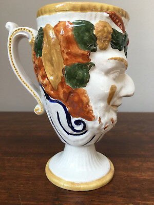Antique Prattware 'Bacchus' satyr mug with frog - great condition