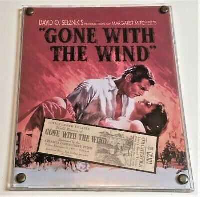 "Vtg Gone With The Wind Plastic/plexiglass Plaque 6.5""x8"" + Wooden Stand—Numbered"