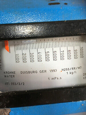 water 1,000 - 10,000 L/hr at 20 deg C Krohne Duisburgh Germany  H250/RR/M7