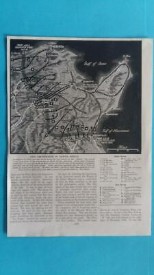 WW 2 EPHEMORA - Picture Map Axis & Allied Forces in Final Assault on Tunis 1943