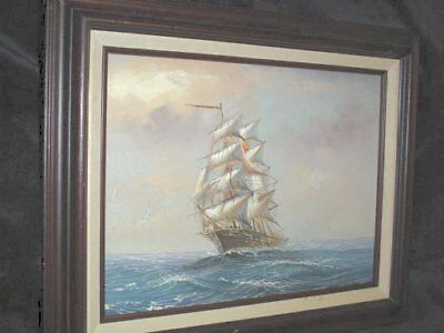 Original Signed & Framed Ambrose Painting on Canvas Ship On The Ocean
