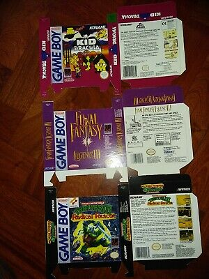 Reproduction boxes for game boy Tmnt 3 radical Kid Dracula FF legends 3 GB lot