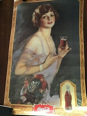 1927 COCA COLA Poster Cardboard Vintage Girl with Flowers