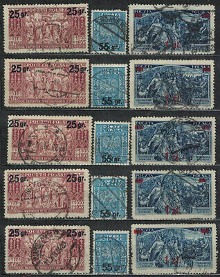 Poland Fischer # 270 - 272 Surcharge Issue Lot Of 15 Used Stamps 1934