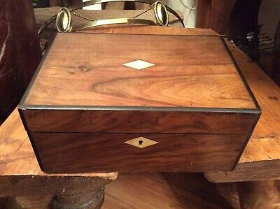 Beautiful Silk Lined Padded Work Box , Mother Of Pearl Inlaid