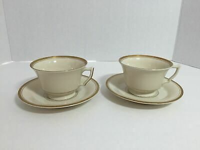 Syracuse China Monticello Old Ivory Set Of 2 Cups & Saucers Made USA