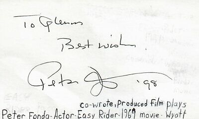 Cards & Papers Peter Fonda Actor Producer Wyatt In Easy Rider Movie Signed Index Card Jsa Coa
