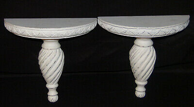 Pair Vintage Corbels Distressed White Hand Carved Wood Corbels Shelves Sconces