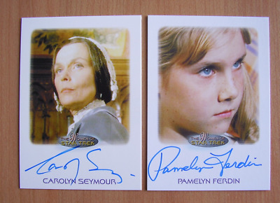 WOMEN OF STAR TREK X2 AUTOGRAPH CARDS CAROLINE SEYMOUR and PAMELYN FERDIN