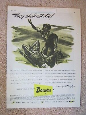 Vintage 1945 WWII Douglas Airplane Aircraft Air Transport War Wounded Print Ad