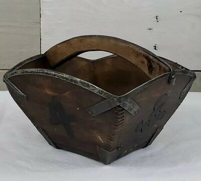 Primitive Antique Vintage Asian Wooden Rice Basket Measuring Bin Box