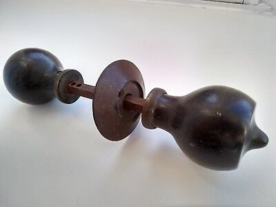 Pair  Of Old Ebonised Wooden Door Knobs