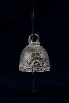 Antique Thai Style Bronze Mounted Elephant Bell - 18cm/7""
