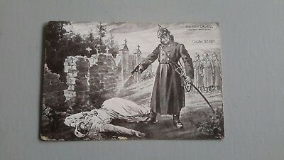 """Vintage French Postcard""""cowardly Murder Of Miss Edith Cavell"""" 1915"""
