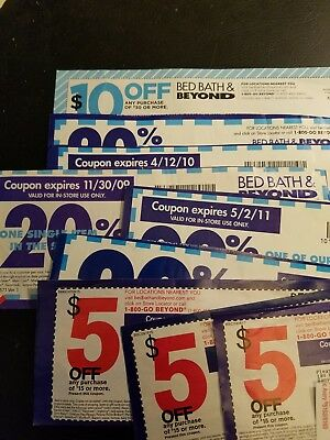 Lot of Bed bath Beyond Coupons 20% off one Item (5), 5 off 15 (3), 10 off 30 (1)