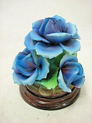 Vintage Capodimonte 3 Blue Roses Figurine On A Wooden Stand N Crown Italy