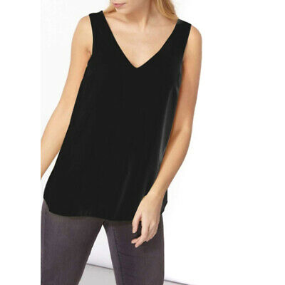 Women Summer Solid Color Vest Top Casual Tank T-Shirt Top Sleeveless Blouse shan