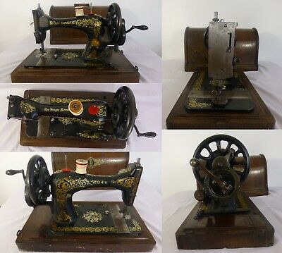 ANTIQUE 1894 SINGER hand operated Sewing Machine (With Attachments & OLD MANUAL)
