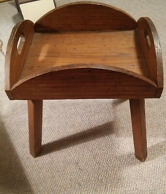 043 Antique Wormy Chestnut Butler Tray Table Coffee End $189.00