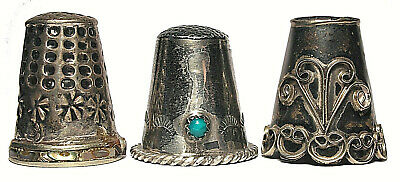 Three (3) Vintage Sterling Silver Thimbles from Mexico - All Different