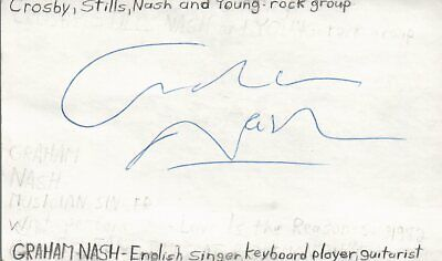 Graham Nash Singer Guitarist Hollies Music Autographed Signed Index Card JSA COA