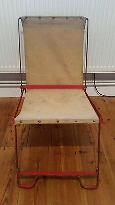 Vintage Camping Theatre Red Metal & Canvas Deck Chairs c1940s Foldable Caravan