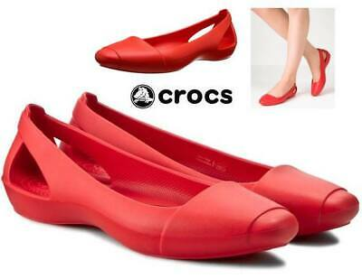 0c2cc4b7672 NWT Sz. 8 CROCS Women s Sienna Flats ICONIC COMFORT Ballet Shoes in Red  FLAME