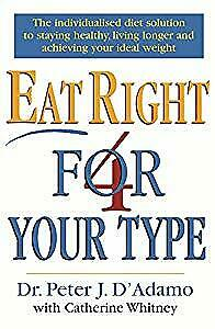 Eat Right 4 Your Type, Dr Peter D'Adamo, Used; Acceptable Book