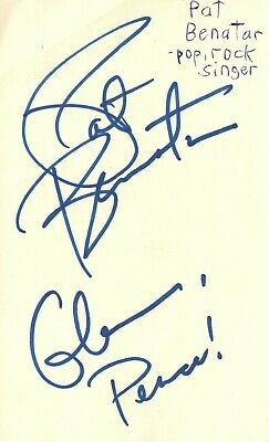 Pat Benatar Pop Singer Grammy Winner Music Autographed Signed Index Card JSA COA