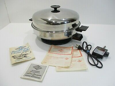 Vintage West Bend Stainless Steel Electric Frying Pan Skillet Cookware