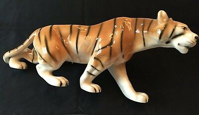 Vintage Royal Dux Bohemia Tiger Porcelain Figurine #312 and 17 Inches